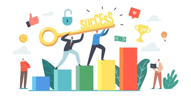 Key to success, challenge, partnership and leadership concept. business people climbing up financial graph and chart stairs. career ladder, characters teamwork cooperation. cartoon vector illustration