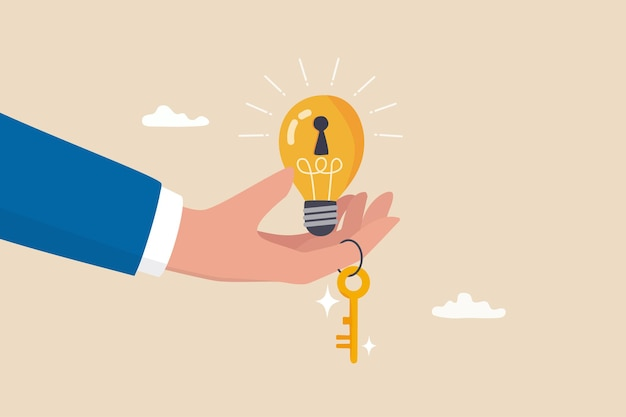 Key to success, creativity idea to solve problem, innovation or knowledge to unlock career potential concept, businessman hand giving bright lightbulb idea with keyhole and golden key to unlock it.
