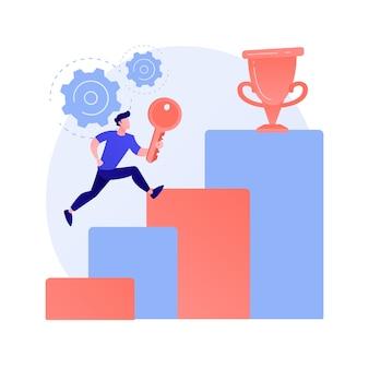 비즈니스 성공의 열쇠. 회사 진행, 리더십 비밀, 야심 찬 계획. 비즈니스 기회를 활용하여 최고의 위치에 도달하는 기업가.