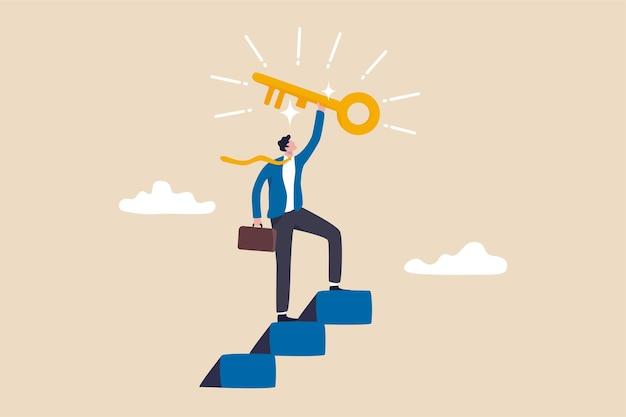 비즈니스 성공의 열쇠, 비밀 열쇠 또는 업적을 찾는 계단.