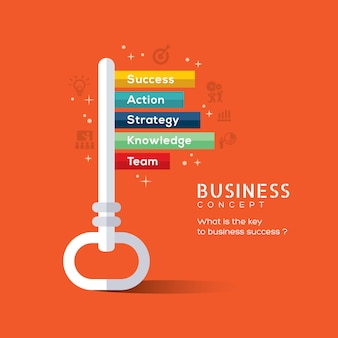 성공 평면 디자인 컨셉 일러스트의 열쇠