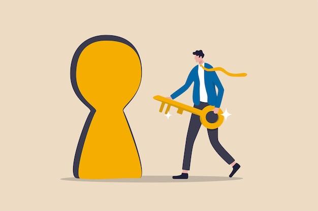 成功への鍵、成長するビジネスへの秘密の扉のロックを解除する、キャリアパスまたは目標達成の概念の機会、ゴールデンキーを保持し、目標に到達するために鍵穴のロックを解除するために走っている自信のビジネスマン