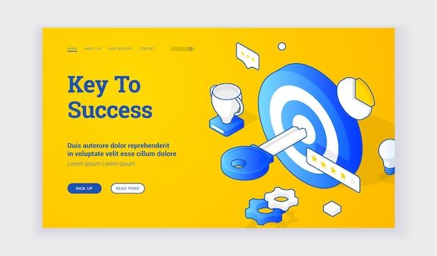 Ключ к успеху. векторная изометрическая иллюстрация цели с ключевыми и успешными символами на баннере веб-сайта продвижения бизнеса. изометрический веб-баннер, шаблон целевой страницы