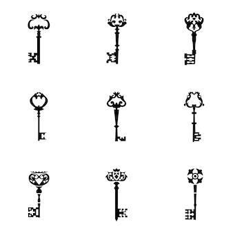 キーベクトルセット。シンプルなキー形状のイラスト、編集可能な要素、ロゴデザインで使用できます