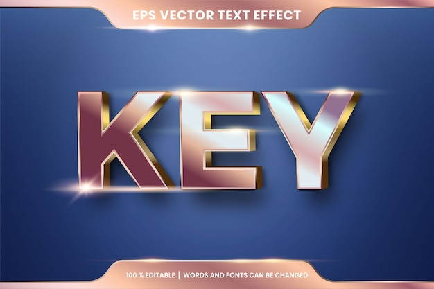 Key words, copper and gold color concept text effect editable