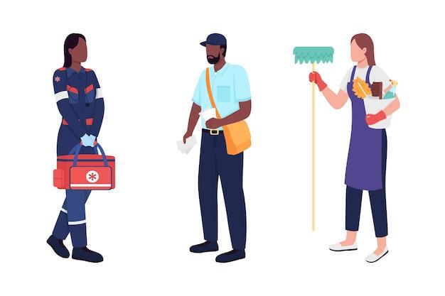 キーワーカーフラットカラーベクトル顔のない文字セット。救急医療、郵便配達員、用務員。公共サービスの従業員は、webグラフィックデザインとアニメーションコレクションの漫画イラストを分離しました