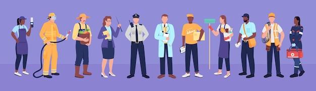 주요 작업자 플랫 컬러 벡터 얼굴 없는 문자. 일하는 직원. 다양한 직원. 의료 종사자, 농부, 교사. 웹 그래픽 디자인 및 애니메이션을 위한 필수 서비스 격리 만화 그림