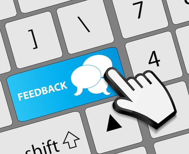Keyboard feedback button with mouse hand cursor vector illustration
