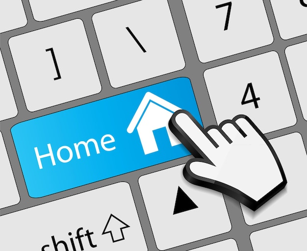 Keyboard home button with mouse hand cursor vector illustration