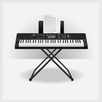 Keyboard instrument with song note vector illustration