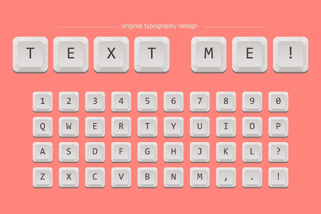 Keyboard keys typography font