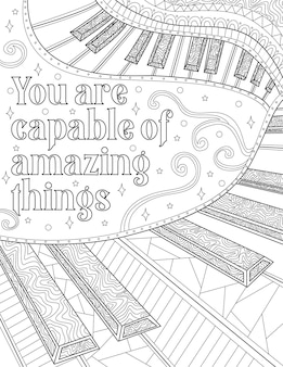 Keyboard line drawing beside an inspirational message piano keys beside inspiration thought