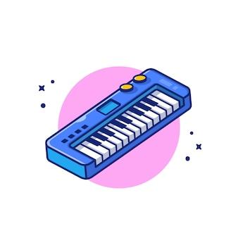 キーボードピアノ音楽漫画アイコンイラスト。音楽楽器アイコンコンセプト分離プレミアム。フラット漫画スタイル