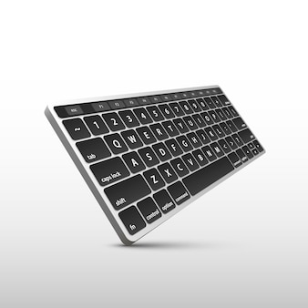 Keyboard on white background in perspective . vector illustration