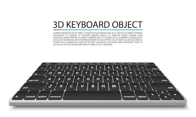Keyboard on white background in perspective. vector illustration