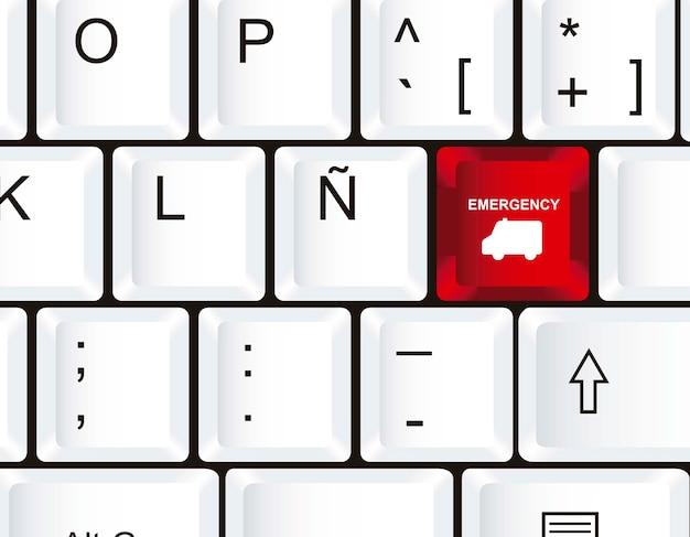 Keyboard with ambulance icons close up vector illustration