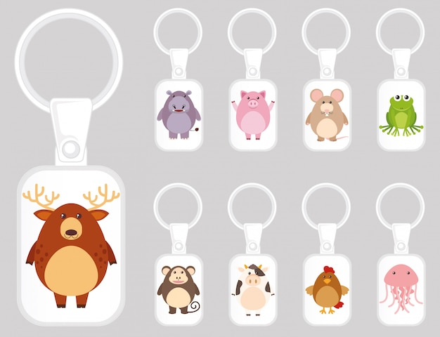Keychain template design with many kinds of animals