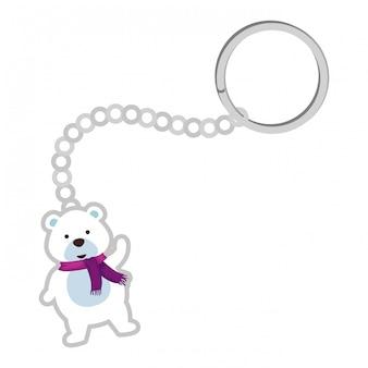 Keychain with cute polar bear christmas