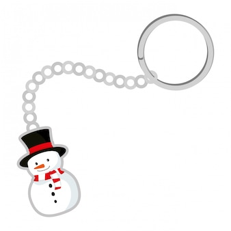 Keychain with cute snowman christmas