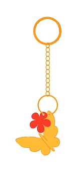 Keychain with gold butterfly pendant isolated on white