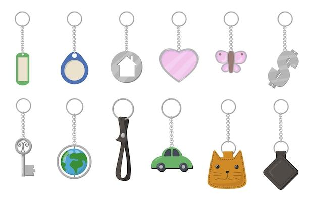 열쇠 고리 및 열쇠 고리 세트. 심장, 나비, 고양이, 자동차, 지구 모양의 흰색 배경에 고립 된 열쇠 고리. 악세사리, 기념품, 여는 문, 부동산 임대 개념에 대한 벡터 일러스트 레이 션