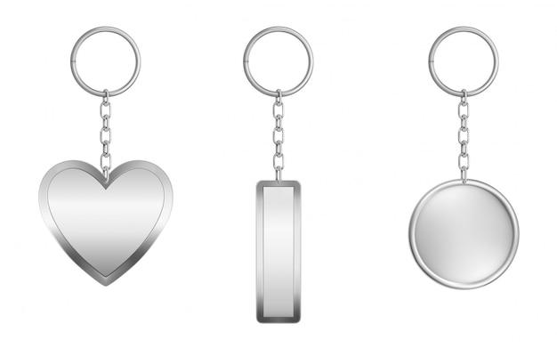 Keychains set. metal round, rectangular and heart