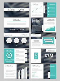 Keynote style business presentation vector template. multipurpose corporate brochure or booklet with infographic charts