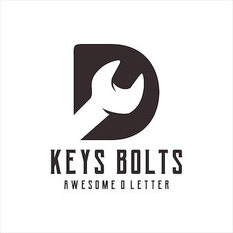 Keys bolts logo silhouette retro illustration