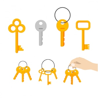 Keys bunch vector or key hanging on ring vector set flat cartoon