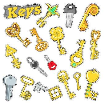 スクラップブック、ステッカー、パッチ、バッジの装飾的な要素をキーします。いたずら書き