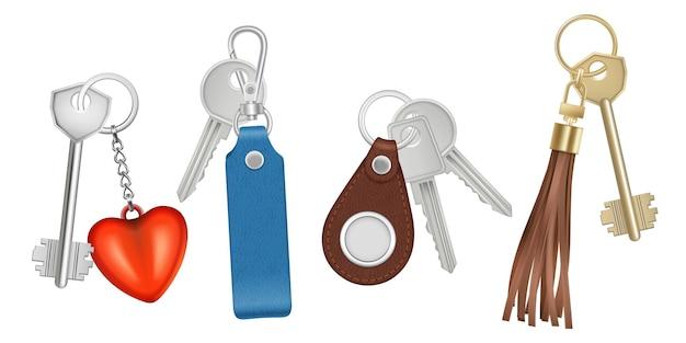 Keys on keychains set