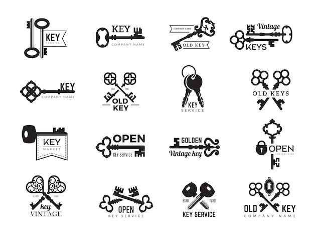 Keys logotype. real estate badges door and gate access symbols silhouettes of ornate and modern steel keys collection