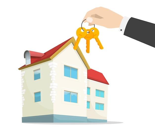 Ключи от нового дома под рукой агента по недвижимости возле современной домашней квартиры. плоский мультфильм иллюстрации