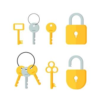 Набор векторных ключей, изолированные на белом фоне плоский дизайн значок векторные иллюстрации