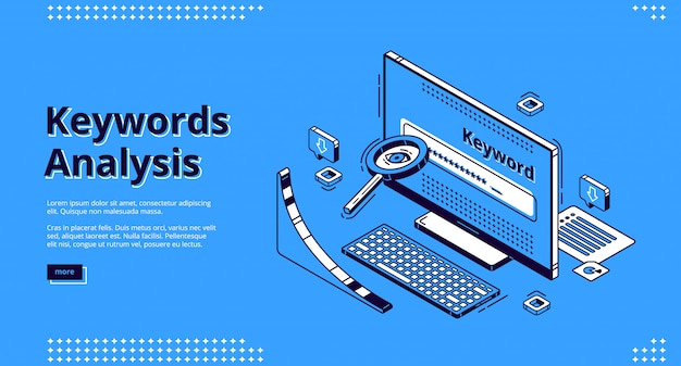 Keyword analysis seo tool isometric landing page