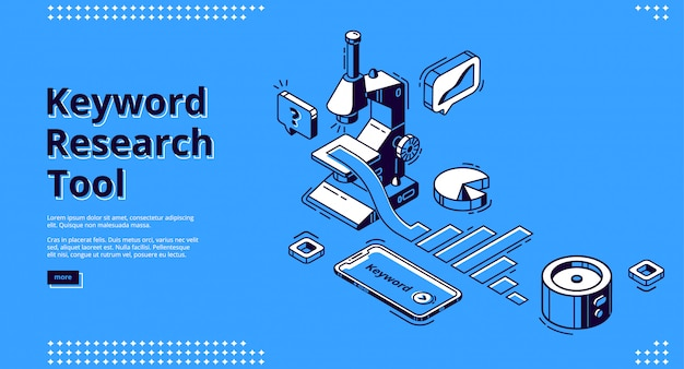Keyword research tool banner with microscope