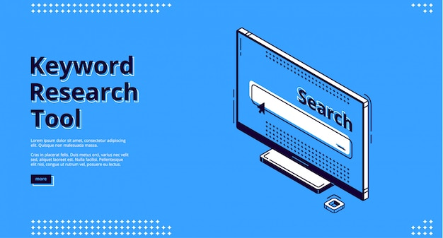 Keyword research tool isometric landing page.