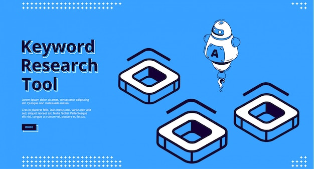 Keyword research tool with isometric icons