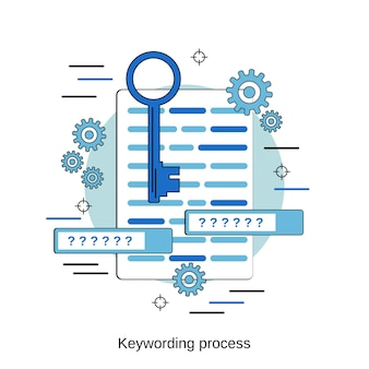 Keywording process flat design style vector concept illustration