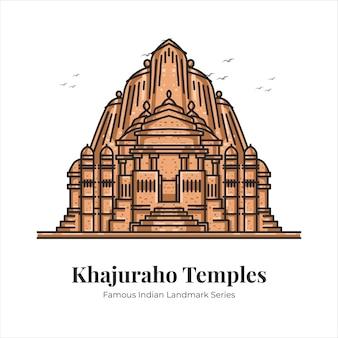 Храмы кхаджурахо индийский знаменитый знаковый ориентир мультфильм линии искусства иллюстрации