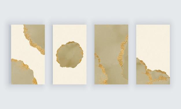 ソーシャルメディアストーリーバナーの黄金のキラキラ背景とカーキ色の水彩