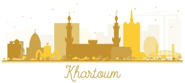 하르툼 시티 스카이 라인 황금 실루엣입니다. 벡터 일러스트 레이 션. 관광 프레젠테이션, 배너, 현수막 또는 웹 사이트를 위한 단순한 평면 개념입니다. 비즈니스 여행 개념입니다. 랜드마크가 있는 하르툼 도시 풍경
