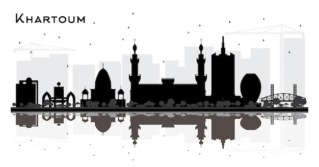 Khartoum sudan city skyline silhouette with black buildings and reflections isolated on white