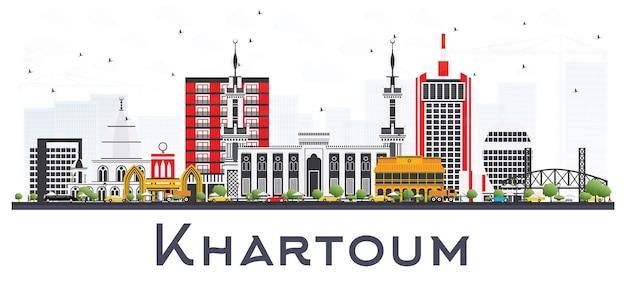 白で隔離される灰色の建物とハルツームスーダンの街のスカイライン。ベクトルイラスト。歴史的な建築とビジネス旅行と観光の概念。ランドマークのあるハルツームの街並み。