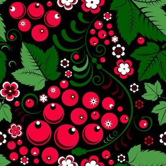 Khokhloma seamless pattern in slavic folk style with berries