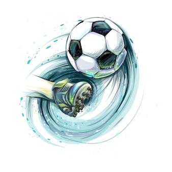 Ударьте по футбольному мячу. нога и футбольный мяч от брызг акварелей. векторная иллюстрация красок
