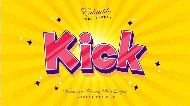 Kick cartoon text effect