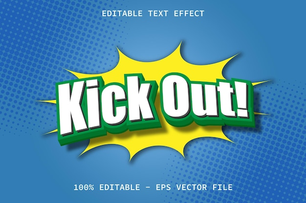 Kick out with modern comic style editable text effect