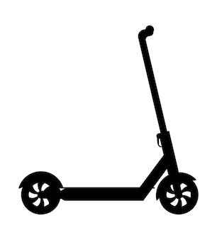 白で隔離される都市の運転とゲームの喜びのイラストのキック スクーター