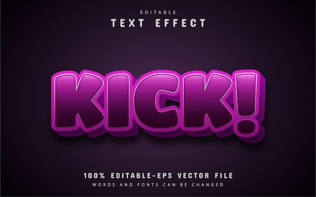 Kick text effect cartoon style